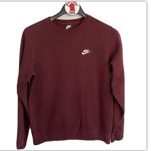 NIKE Maroon Red Crew Neck Pull Over Sweatshirt Size M